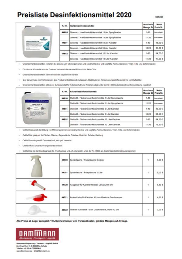 Preisliste-Desinfektionsmittel